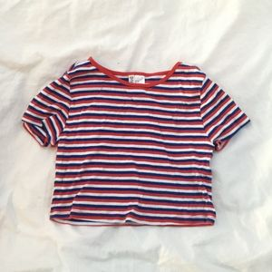H&M blue, red, and white striped cropped tee